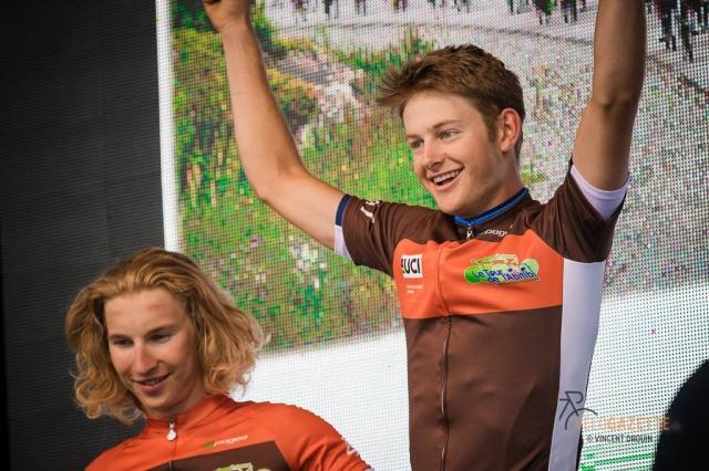 Riley Sheehan celebrates his win at the 2017 Le Tour de l'Abitibi
