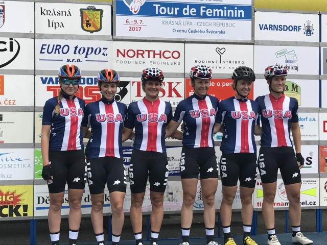 Team USA (l to r) before the start of the Tour de Feminin: Skylar Schneider, Samantha Schneider, Leah Thomas, Holly Breck, Emma White and Hannah Arensman