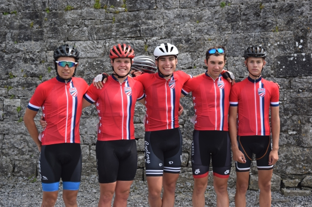 Tour of Ireland racers L-R: Ian Chavez, Reed Williams, Thomas Fuller, Elias Lawson and Lance Heaton