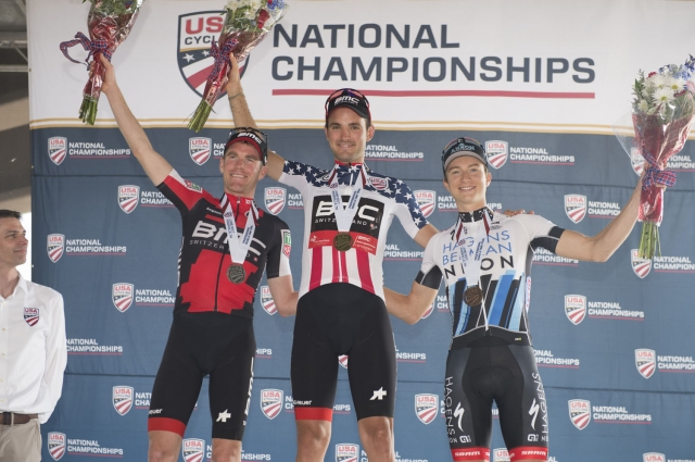 Joey Rosskopf atop the men's TT podium