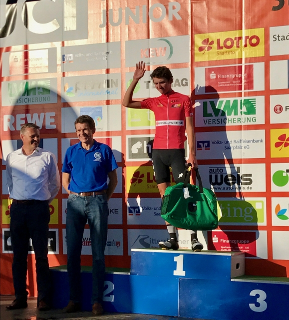 Sean Quinn accepts the Best Young Rider jersey after stage one at Trofeo Karlsberg