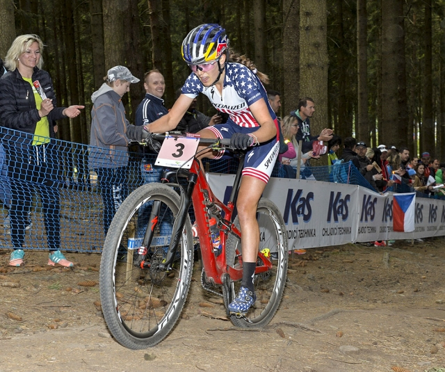 Kate Courtney on her way to winning the U23 race at the UCI World Cup in Nove Mesto