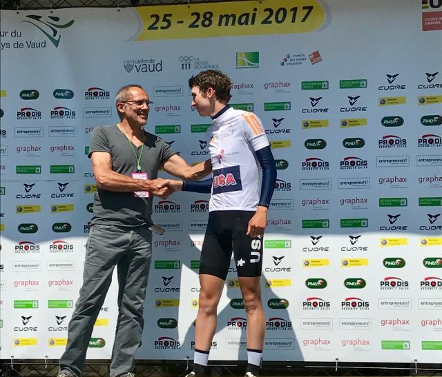 Sean Quinn got the white jersey at Tour du Pays de Vaud.