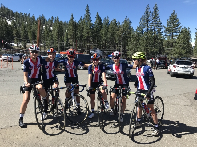 Team USA gets set to tackle a stage at the Amgen Breakaway from Heart Disease Women's Race empowered by SRAM in California