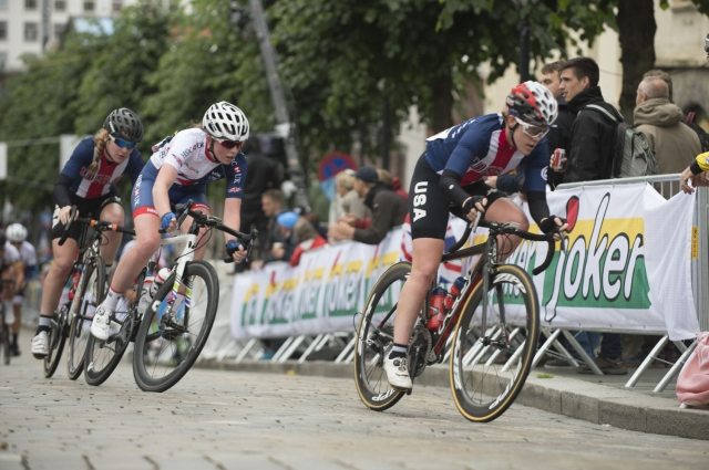 Abigail Youngwerth (r) and Megan Heath (l) were the top two Americans in the junior women's road race