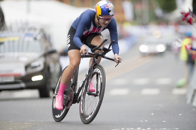 Chloe Dygert races to a fourth-place finish in the women's elite time trial