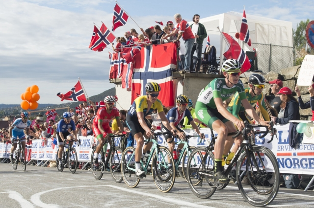 Fans turned out in droves in Bergen for the men's road race