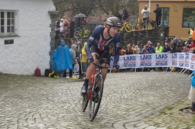 Tejay Van Garderen rides past the throngs of spectators lining the final climb in Bergen