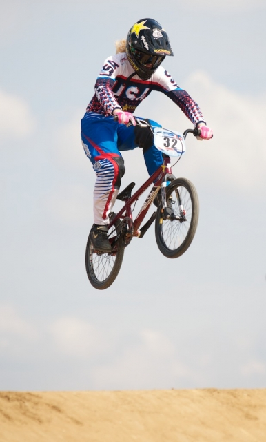 Brooke Crain flying high over the London BMX track during the 2011 Olympic Test Event where she finished ninth.