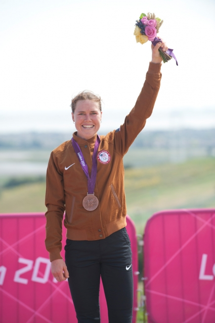 Georgia Gould is all smiles after earning her bronze medal