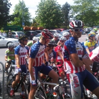 USA Cycling riders ready for the start of the stage