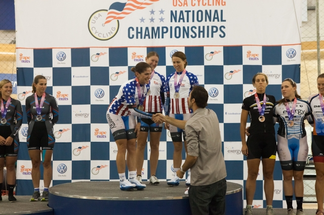 The Exergy TWENTY 12 girls are congratulated for their team pursuit win