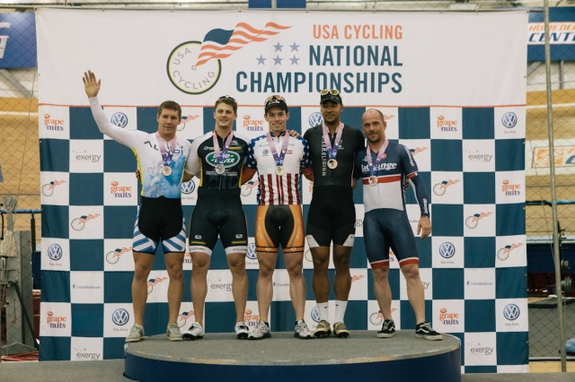 The men's kilometer time trial podium
