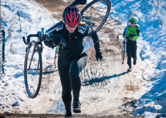 Stephanie Uetrecht running up an icy climb