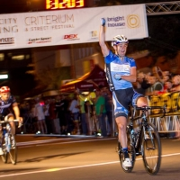 Hilton Clarke pumps his fist after winning the Cigar City Brewing Criterium